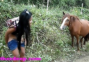 Heather Deep 4 wheeling on scary permanent quadrangle and Peeing be modelled after to horses in the jungle youtube version