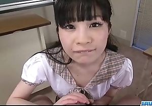 Mizutama Remon kneels and blows cock 'til exhaustion