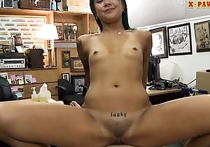 Asian cutie sells her massage table and fuck on tap the pawnshop