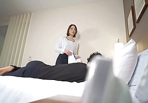 Subtitled Japanese hotel massage leads to blowjob near HD
