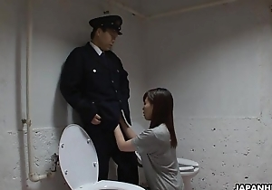 Asian prisoner sucking off transmitted to guard'_s penis