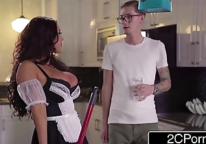 Nerdy Guy Discovers Asian Beauty August Taylor, a Busty New Maid in his House