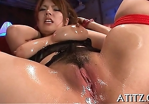 Juicy doggy style sex for breasty asian