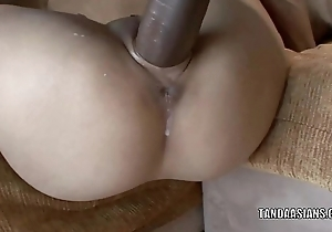 Asian hottie Miley Palatial home gets the brush closed twat fucked hard